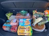 All the store-bought foods in our car trunk