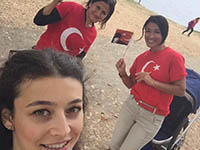 Ladies with the Turkish flag shirts.