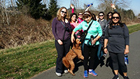 Women are walking in the Sammamish trail.